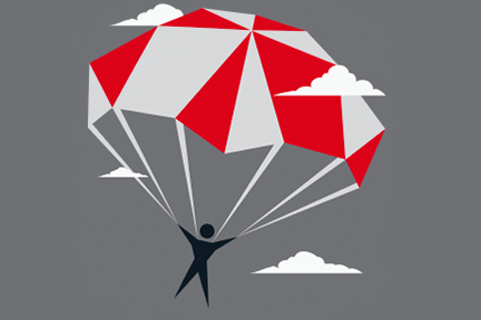illustration of stick figure with parachute