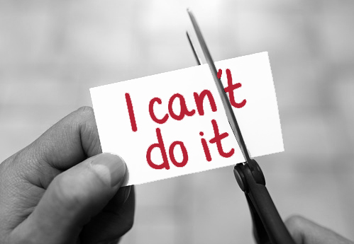 scissors cutting card that says i can't do it